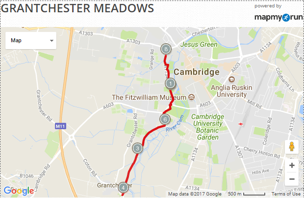 Grantchester Meadows in Cambridge  United Kingdom   Running Map   MapMyRun.png